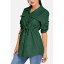 Womens Classic Simple Plain Long Sleeve Lapel Collar Bow Tide Button Down Shirt Blouse
