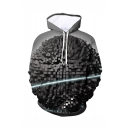 New Stylish Geometric 3D Printed Long Sleeve Grey Loose Fit Drawstring Hoodie