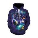 Hot Fashion Galaxy Planet Wolf 3D Printed Long Sleeve Dark Purple Drawstring Hoodie