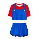 Funny Mario Cosplay Costume 3D Print Round Neck Short Sleeve Tee with Dolphin Shorts Co-ords
