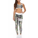 Hot Popular Floral Plant Printed Sleeveless Scoop Neck Vest Tops Mid Waist Workout Pants Two Piece Set