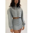 Womens Casual Grey Polo Collared Single Button Cotton Long Sleeve Crop Top Mini Tube Skirt Co-ords