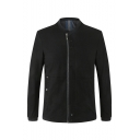 Unique Business Style Plain Long Sleeve Stand Collar Zip Up Casual Jacket for Men