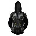 Hot Fashion Armor 3D Printed Cosplay Costume Black Long Sleeve Zip Up Hoodie