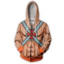 Hot Popular Comic Muscle 3D Printed Cosplay Costume Long Sleeve Orange Zip Up Hoodie