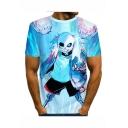 Hot Stylish Comic Pattern Round Neck Short Sleeve Blue T-Shirt