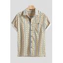 Mens Summer Trendy Geometric Printed Short Sleeve Lapel Collar Loose Shirt