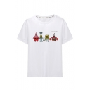 Summer Funny Comic Pattern Basic Round Neck Short Sleeve White Casual Tee