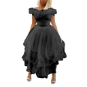 Women's Fashion Boat Neck Sleeveless Panelled Hybrid Tiered Feather Maxi Flare Dress