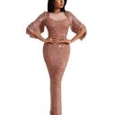 Women's Fashion Round Neck Sleeveless Hybrid Panelled Tassel Sequined Maxi Bodycon Dress