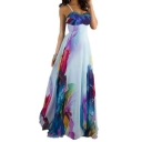 Women's Sexy Scoop Neck Sleeveless Zip Floral Printed Maxi Cami Dress