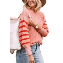 Hot Popular Womens Stripes Print Round Neck Drop Sleeve Boxy Chenille Sweater