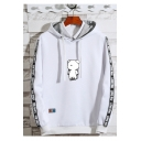 Mens Trendy Cartoon Bear Printed Letter Tape Side Long Sleeve Casual Sports Drawstring Hoodie