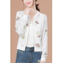 Colorful Ginkgo Leaf Pattern Printed Stand Collar Long Sleeve White Cropped Jacket Coat