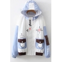 Cartoons Printed Drawstring Hooded ColorBlocked Panel Flap Pockets Long Sleeve Zipper Jacket Coat