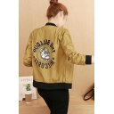 Ladies Simple Letter Dog Printed Stanford Collar Zip Up Baseball Jacket with Pockets