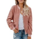 Warm Solid Color Design Stand Collar Long Sleeve Zipper Short Shearling Jacket