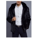 Men's New Fashion Plain Notched Lapel Collar Long Sleeve Zip Placket Black Fluffy Fleece Coat