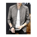 New Trendy Simple Plain Stand Collar Zip Closure Long Sleeve Fitted MA-1 Flight Jacket