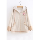 New Arrival Cute Fox Printed Loose Cuffs Khaki Hooded Zipper Jacket Coat with Pocket