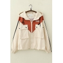 Preppy Chic Stripe Colorblocked Drawstring Hooded Flap Pocket Zipper Work Jacket Coat