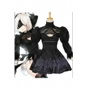 New Stylish Black Comic Girl Cosplay Costume Puff Long Sleeve Cutout Front Mini A-Line Swing Dress