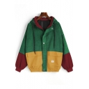 Women's Basic Colorblocked Zipper Flap Pocket Drawstring Long Sleeve Hooded Corduroy Workwear Jacket