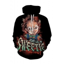 Letter DONT CALL ME Ghost Baby 3D Printed Long Sleeve Black Drawstring Hoodie