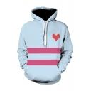 Hot Popular Stripe Heart Pattern Light Blue Long Sleeve Drawstring Pullover Hoodie