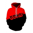 Letter Colorblock Pattern Long Sleeve Drawstring Pullover Hoodie