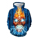 Hot Fashion Fire Skull 3D Printed Long Sleeve Blue Casual Loose Hoodie