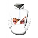 Creative Fashion Mouth 3D Printed Long Sleeve White Casual Loose Hoodie