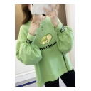 AVOCADOS Letter Cute Avocado Printed Round Neck High Low Lantern Sleeve Loose Pullover Sweatshirt