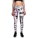 Womens High Waist Tiger Stripes Printed Letter White Full Length Leggings