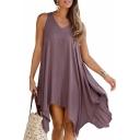 Womens Hot Fashion V-Neck Sleeveless Hollowed Back Plain Asymmetrical Midi Dress