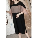 Womens New Fashion Round Neck Short Sleeve Panelled Tie Slit Black Chiffon Shift Midi Dress