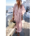 Womens New Fashion V-Neck Short Sleeve Ruffles Tie Plain Boho Asymmetrical Maxi Dress