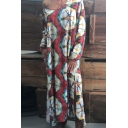 Womens New Fashion V-Neck Long Sleeve Floral Print Slit Loose Shift Maxi Dress