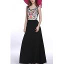 Womens Fashion Scoop Neck Sleeveless Tribal Print Black A-Line Tank Maxi Dress