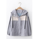 Womens Trendy Color Block Tape Stripe Long Sleeve Zip Up Leisure Hooded Jacket