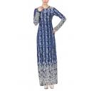 Womens New Stylish Round Neck Long Sleeve Floral Print Dyed Sheath Column Boho Maxi Dress