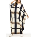Moslem Fashion Round Neck Batwing Sleeve Plaid Single Button Hollow Back Loose Shift Maxi Dress