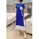 Womens Summer Round Neck Short Sleeve Striped Lace Panelled Pockets Ruffles Shift T-Shirt Maxi Dress