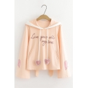 Give You All My Love Letter Love Heart Embroidered Lovely Ear Long Sleeve Leisure Hoodie With Pockets