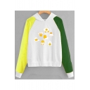 Funny Cartoon Egg Printed Color Block Long Sleeve Hoodie