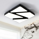 Black Geometric LED Flush Light Contemporary Metal Ceiling Lamp for Coffee Shop Corridor