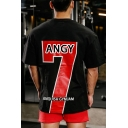 Mens New Stylish Short Sleeve Round Neck ANGY Seven Letter Printed Casual Loose Oversize Sport T-Shirt