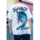 Funny Letter SPACE SURF Astronaut Printed Hip Hop Relaxed T-Shirt