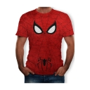 Red Round Neck Short Sleeve Spider Wed Eye Printed Personalized Pullover T Shirt