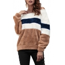 Hot Sexy Off Shoulder Long Sleeve Colorblock Striped Printed Fluffy Fleece Pullover Sweatshirt